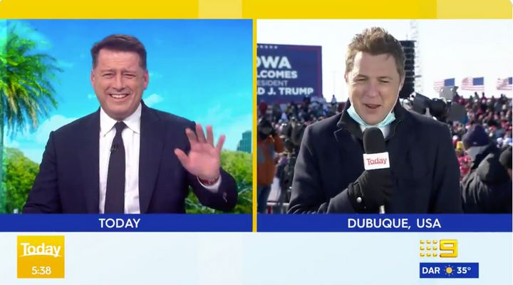 Today show host Karl Stefanovic and reporter Tim Arvier erupt into laughter over a hilarious fail at Trump's rally in Iowa.