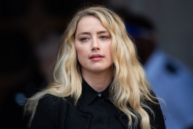 Amber Heard pictured outside the High Court in July