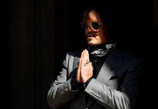 L'acteur Johnny Depp à son arrivée devant la Haute court de Londres, le 28 juillet 2020...