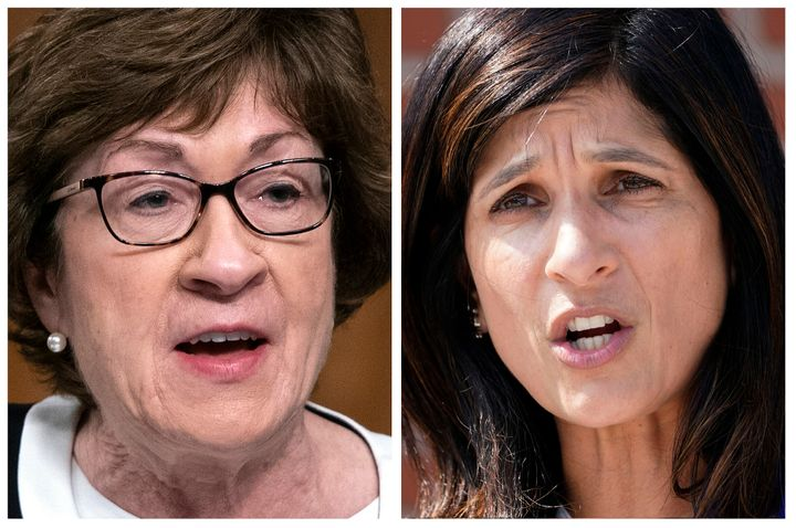 Recent polling shows Republican Sen. Susan Collins (left) and Democrat Sara Gideon (right) in a virtual tie ahead of Election