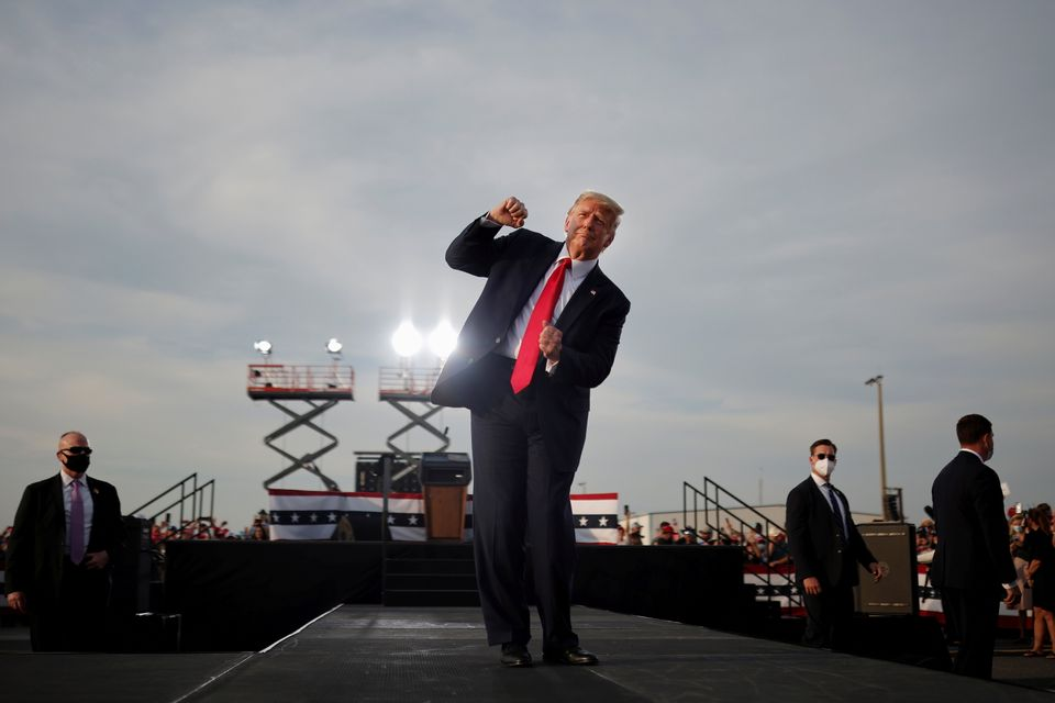 Trump at the end of his campaign rally in Ocala,