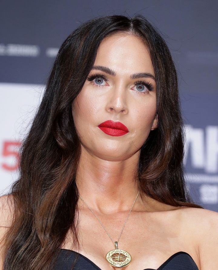 """Megan Fox photographed in 2019, in South Korea, at the """"Battle Of Jangsari"""" press conference."""