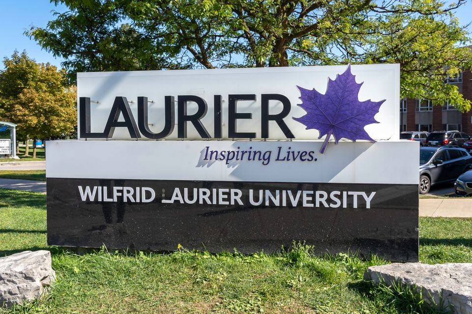 A sign at Wilfrid Laurier University in Waterloo, Ont. in