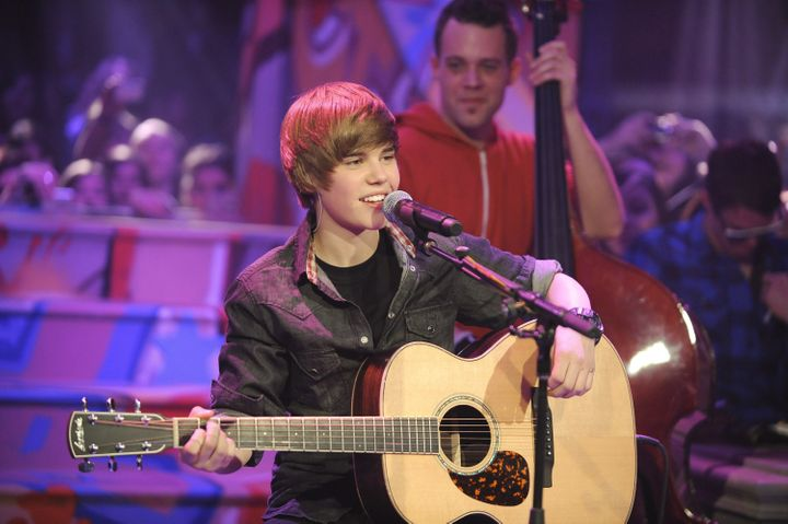 Remember this? A young Justin Bieber performs on Live@Much at the MuchMusic HQ on December 22, 2009 in Toronto.