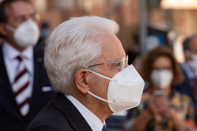 SASSARI, ITALY - SEPTEMBER 24: A close-up of the President of the Italian Republic Sergio Mattarella...
