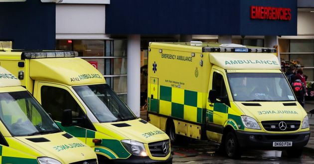 Ambulances outside the Accident and Emergency Department of the Royal Liverpool University