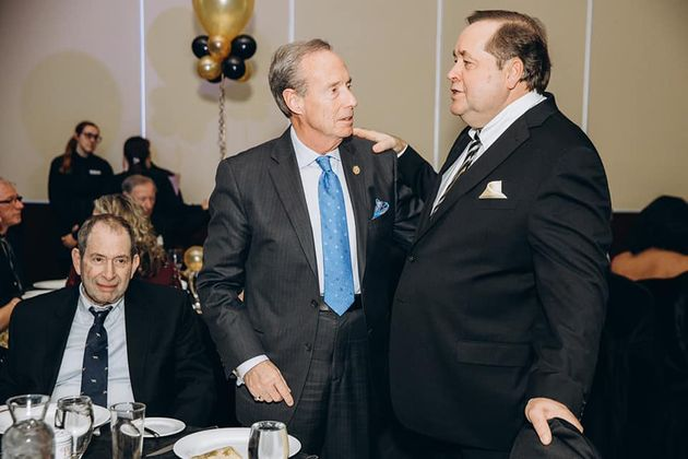 Ontario MPP Lorne Coe talks with Charles McVety in a photo that was posted to Facebook and then