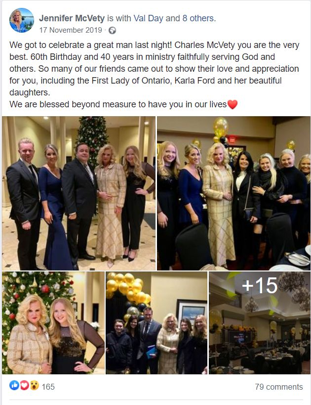 """Jennifer McVety thanked """"the First Lady of Ontario,"""" Premier Doug Ford's wife Karla Ford, for attending her husband Charles McVety's party."""