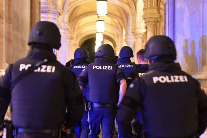 Armed police control a passage near the opera in central Vienna on Monday following a shooting near a synagogue.
