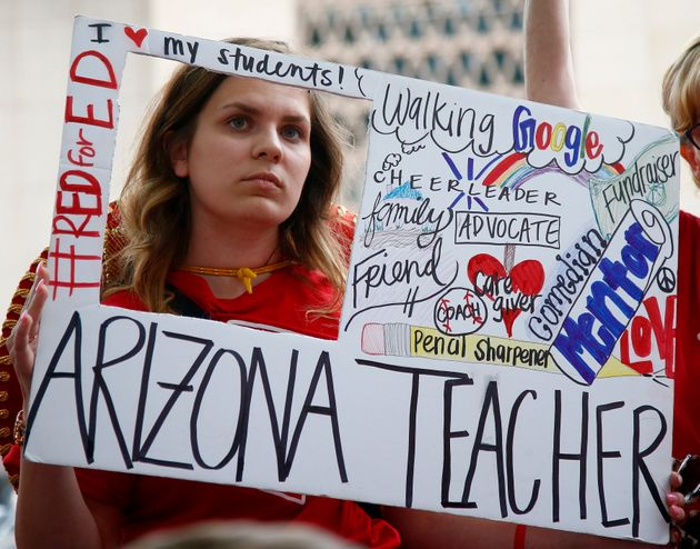 Public school teacher Taylor Dutro participates in a protest in May 2018. A ballot measure passed in...