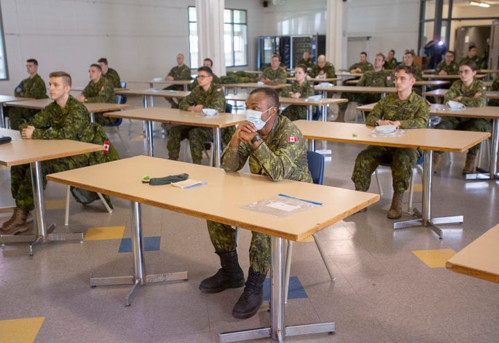 Members of the Canadian Armed Forces take part in a training session before being deployed to senior's residences on April 29, 2020 in Montreal.