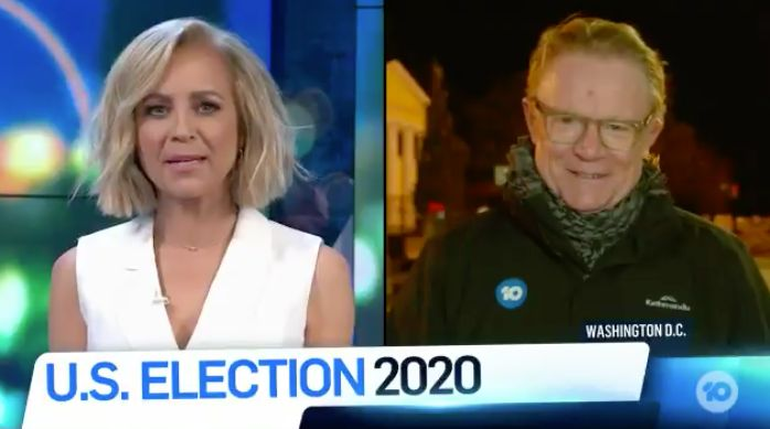 """During a live cross to Channel 10 reporter Hugh Riminton who was on the ground in Washington DC, Carrie said, """"These are full on images – businesses being boarded up, barricades being set up..."""""""