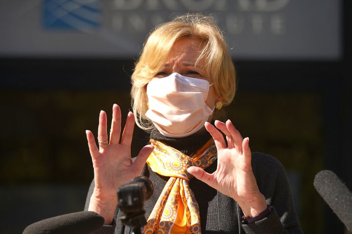 Dr. Deborah Birx speaks to the media outside the Broad Institute in Cambridge, Massachusetts, on Oct. 9. This week, she urged