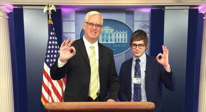 """Gateway Pundit founder Jim Hoft and his White House correspondent Lucian Wintrich display the """"OK"""" white power hand gesture i"""
