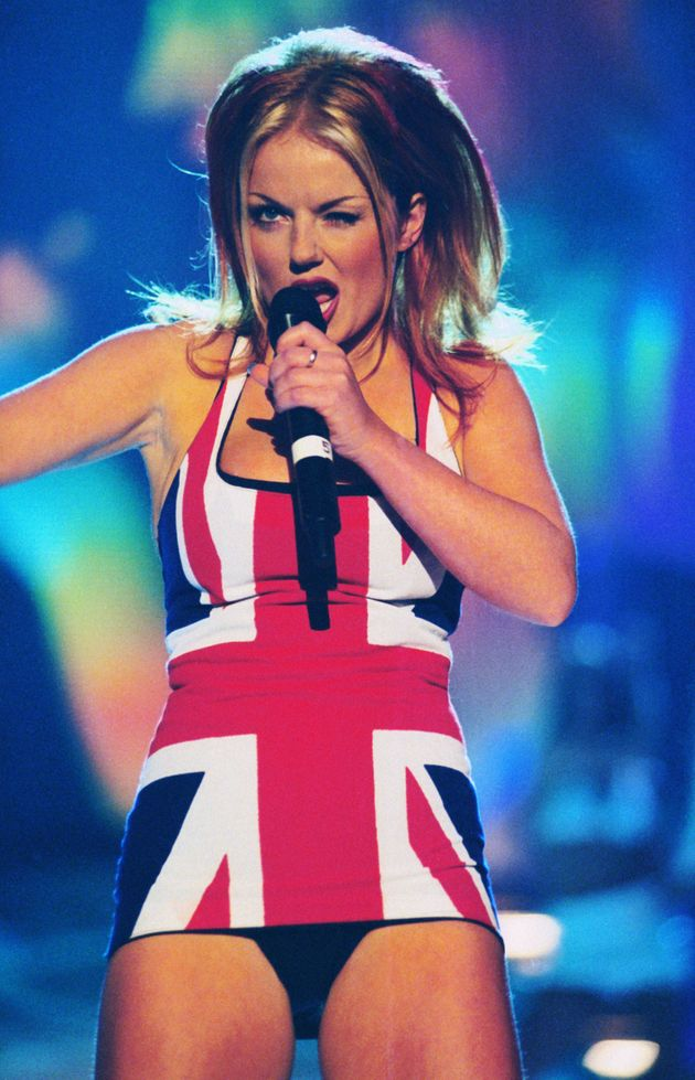 Geri Halliwell, AKA Ginger Spice on stage at the Brit Awards, 24th February 1997. (Photo by Dave Benett/Hulton...