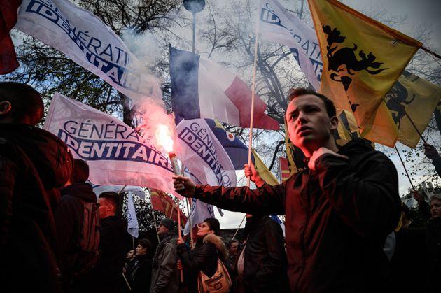 Une manifestation contre l'islamisme organisée par Génération identitaire le 17...