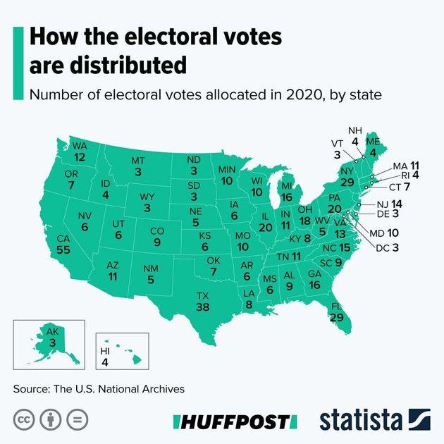 Mapa de los votos electorales que emite cada estado. Ganará el candidato que obtenga al menos