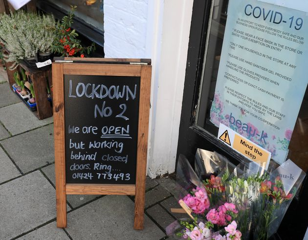 A sign outside beau-k florists in Battle, East Sussex, ahead of a national lockdown for England from