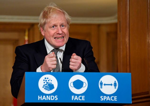 Boris Johnson speaks during a virtual press conference inside 10 Downing Street in central London on...