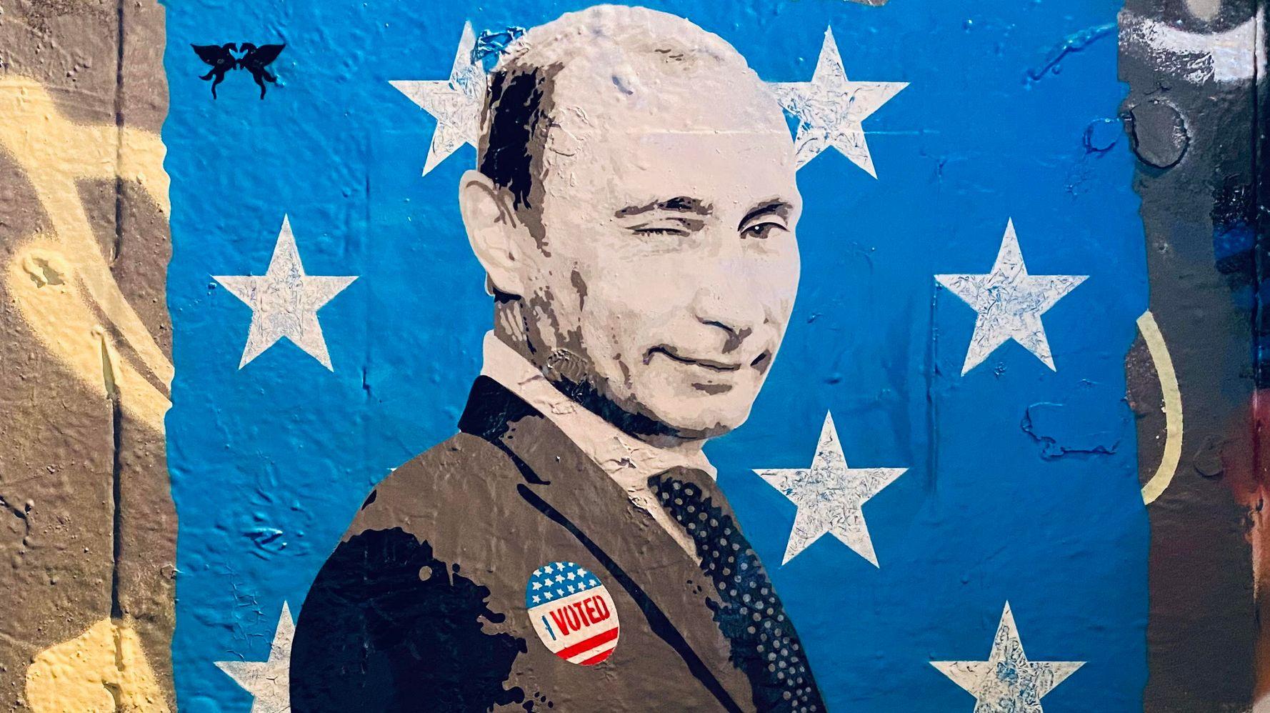 Winking Vladimir Putin Gets 'I Voted' Sticker In Election Day Street Art