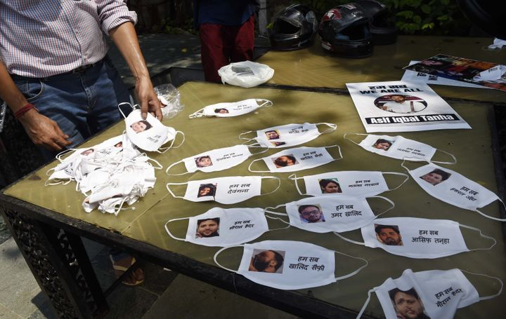 Masks distributed during a press conference on the arrest of student activist Umar Khalid, on September 16, 2020 in New Delhi, India.
