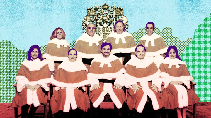 Judges of the Supreme Court of Canada are seen here in a modified official court photo. From left to right, the back row includes the Honourable Sheilah L. Martin, the Honourable Russell Brown, the Honourable Malcolm Rowe, and the Honourable Nicholas Kasirer. In the front row are the Honourable Andromache Karakatsanis, the Honourable Rosalie Silberman Abella, the Right Honourable Richard Wagner, P.C., Chief Justice of Canada, the Honourable Michael J. Moldaver, and the Honourable Suzanne Côté.