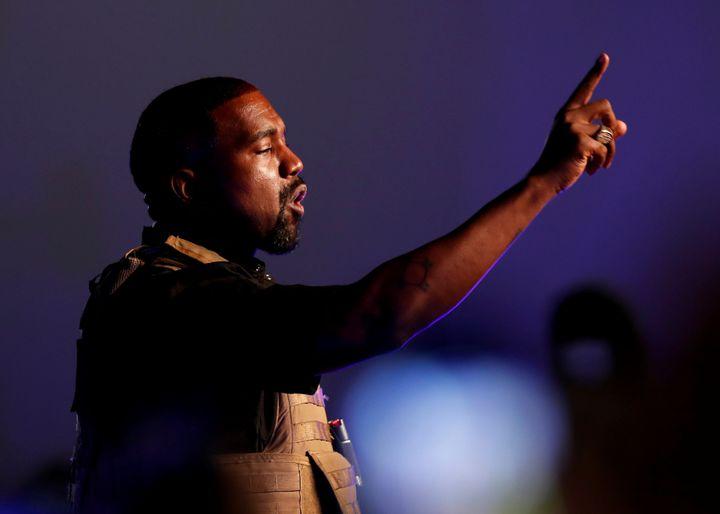 Le rappeur Kanye West lors de son premier rassemblement pour soutenir sa candidature aux élections présidentielles américaines de novembre 2020, en Caroline du Sud aux Etats-Unis le 19 juillet 2020.
