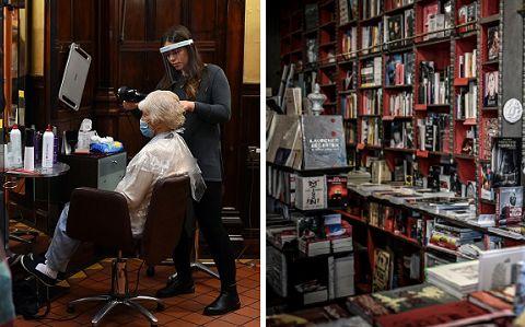Un salon de coiffeur anglais et une librairie