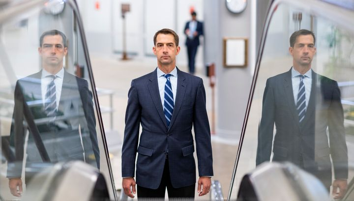 """Sen. Tom Cotton (R-Ark.) has staked out even more extreme """"law and order"""" positions than President Donald Trump has."""