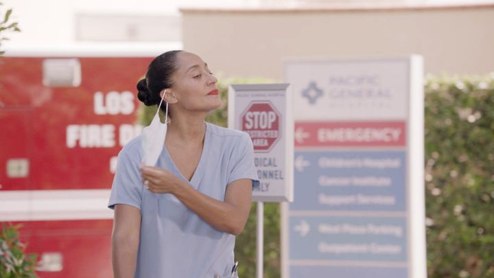 "The season premiere of ""black-ish"" shows how the pandemic affects Dr. Rainbow Johnson (Tracee Ellis Ross) and her family"