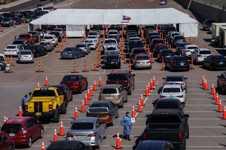 Cars line up for COVID-19 tests at the University of Texas-El Paso on October 23. The city has seen a surge in cases.