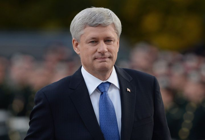 Stephen Harper arrives at a ceremony on Parliament Hill in Ottawa on Oct. 22, 2015.