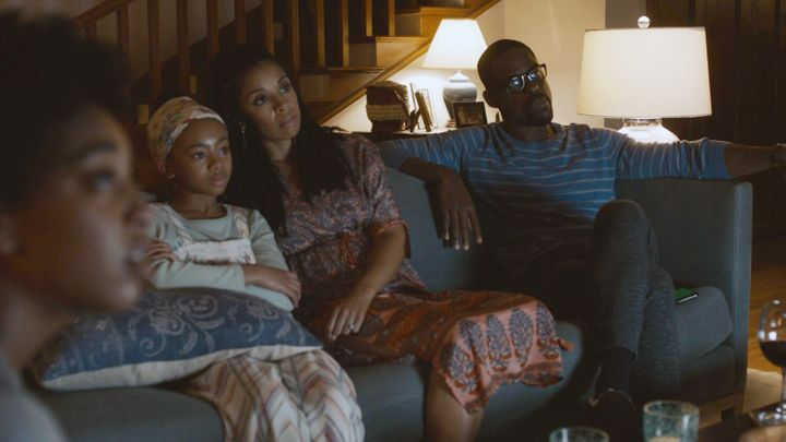 "Eris Baker as Tess, Faithe Herman as Annie, Susan Kelechi Watson as Beth, and Sterling K. Brown as Randall on ""This Is Us."" T"