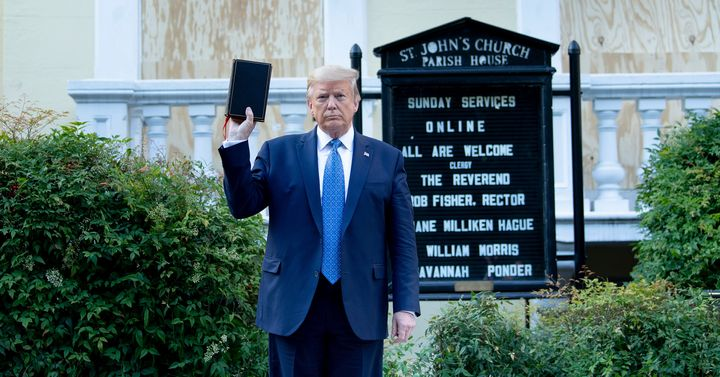 President Donald Trump stages his now-infamous photo-op in front of St. John's Church across from the White House on June 1 a