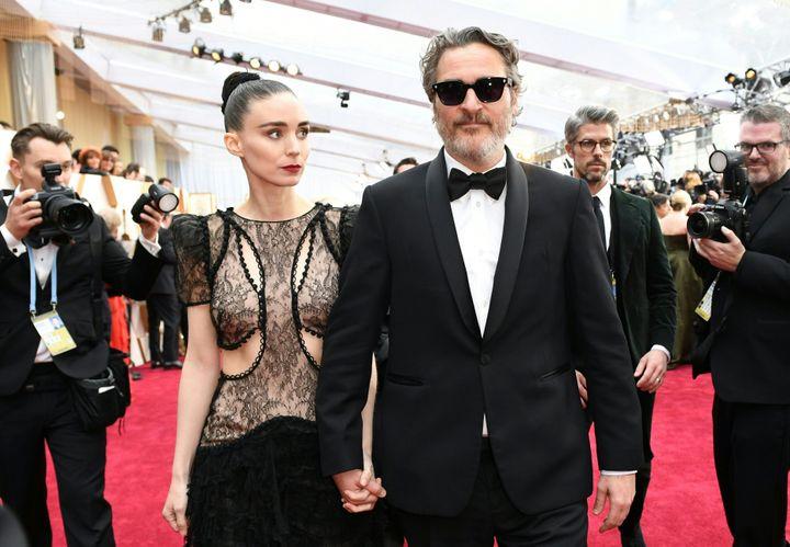 Joaquin Phoenix and Mara Rooney at the 92nd Oscars on Feb. 9.