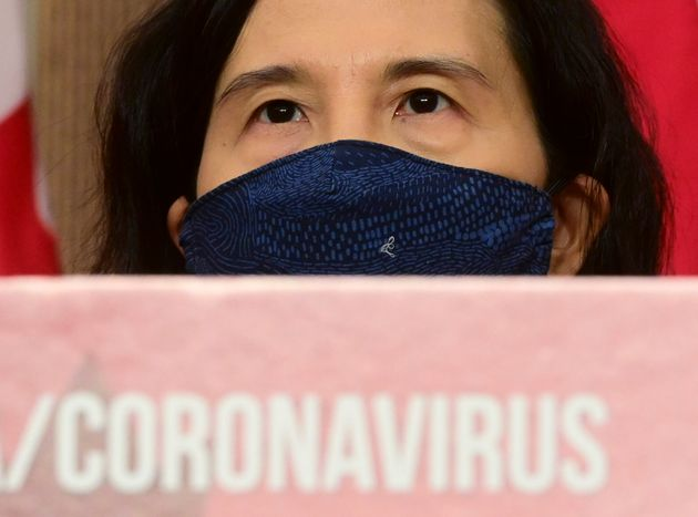 Chief Public Health Officer Dr. Theresa Tam wears a mask during an update on the COVID-19 pandemic in...
