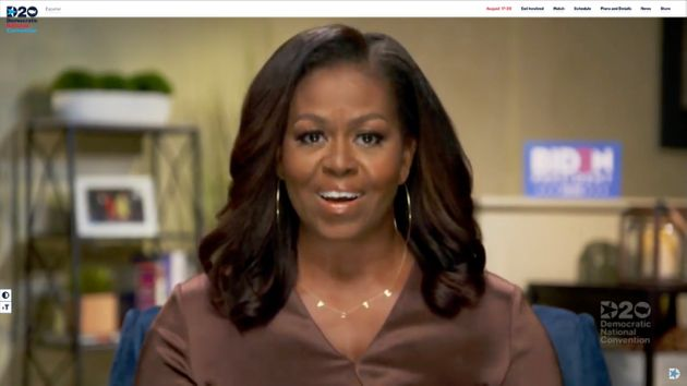 Former first lady Michelle Obama addresses the virtual DNC on Aug.