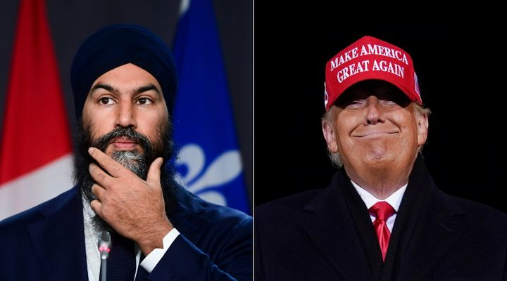 NDP Leader Jagmeet Singh and U.S. President Donald Trump are shown in a composite of images from The Canadian Press.