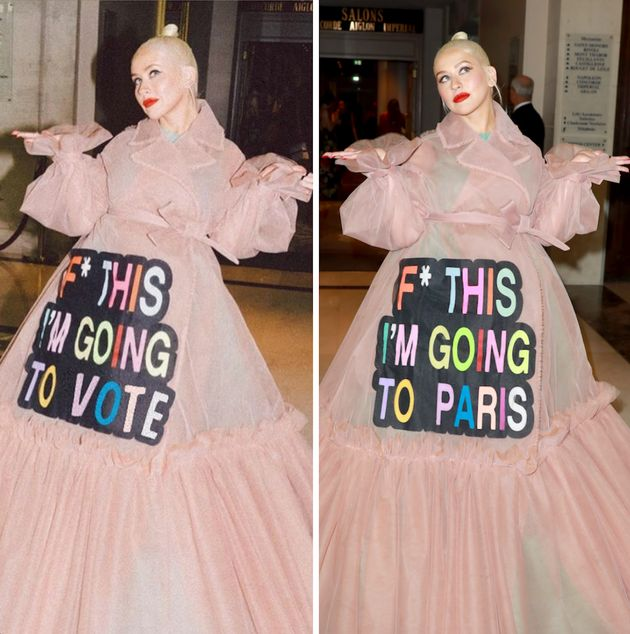 Aguilera's digitally altered gown on the left, and the original gown on the