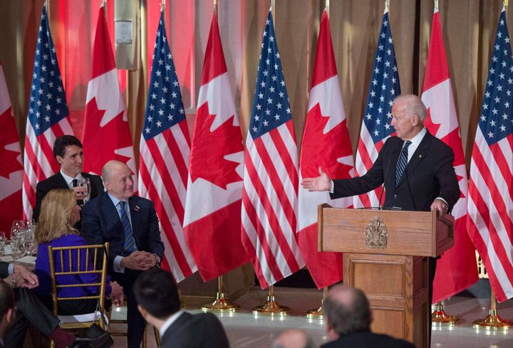Joe Biden addresses Prime Minister Justin Trudeau as he speaks during a state dinner on Dec. 8, 2016 in Ottawa.