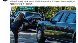 Esta mujer haciendo un corte de mangas a Trump ya es una ídola de la jornada