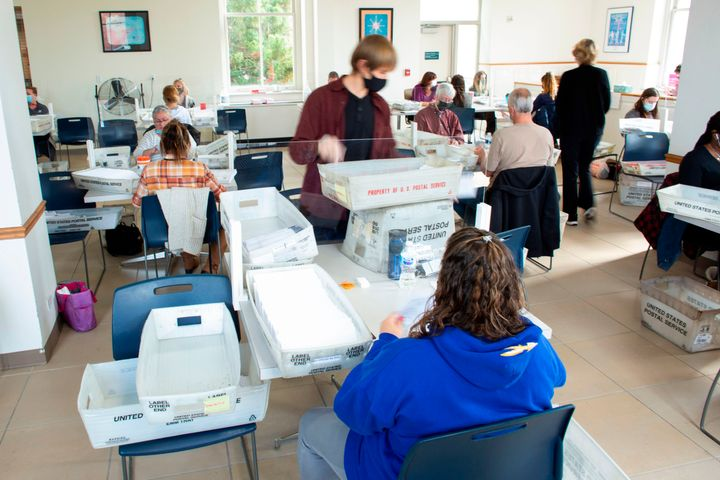 Electoral workers begin processing ballots at Northampton County Courthouse in Easton, Pennsylvania, on Election Day.