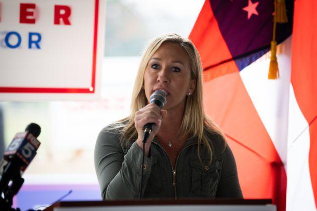 Marjorie Taylor Greene, ici lors d'un meeting en Géorgie aux États-Unis, le 15 octobre