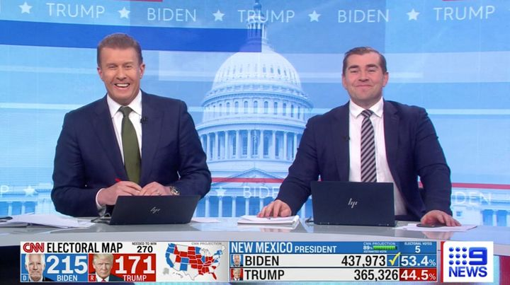 On Wednesday Channel Nine reporters Peter Overton and Charles Croucher had a good chuckle after Donald Trump shared a tweet in which he misspelt 'polls' as poles'.