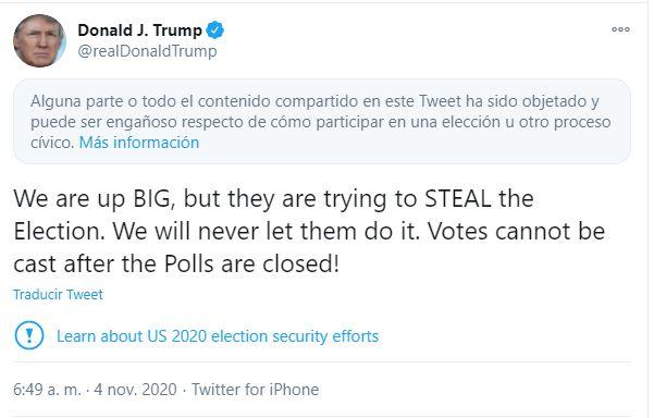 El tuit de Trump calificado como que puede ser