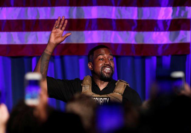 El rapero Kanye West durante su primer (y único) mitin por la
