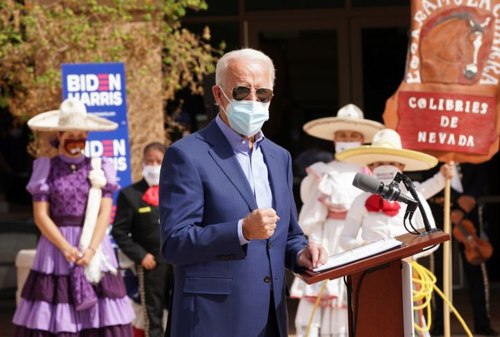 Joe Biden speaks to a largely Mexican American audience in Las Vegas on Oct. 9. Some supporters wish Biden had invested more