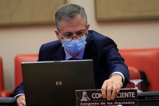 El gobernador del Banco de España, Pablo Hernández de Cos, este miércoles en el