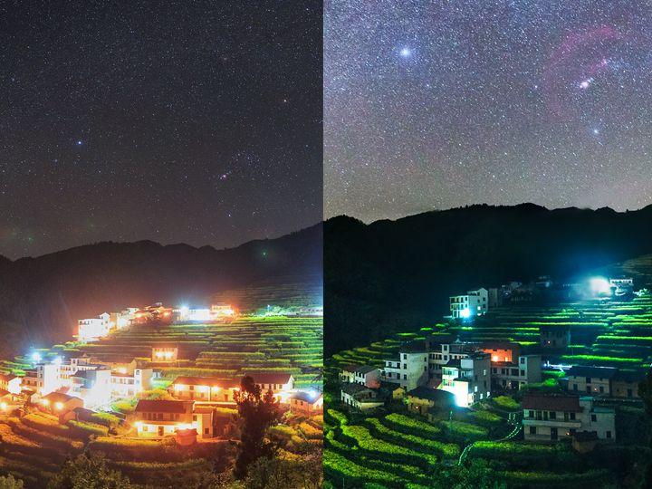 Le ciel du comté de Kaihua, en Chine, la nuit du 16 mai 2019, dans le cadre d'une opération de la NASA visant à sensibiliser à la pollution lumineuse. La photo de droite a été prise avec la même caméra, au même endroit, lumières éteintes.
