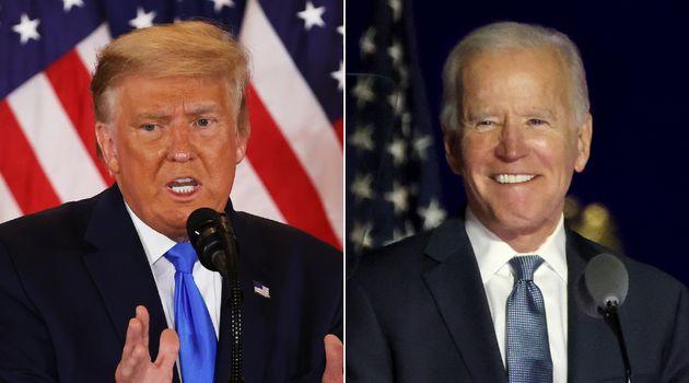 Republican presidential candidate Donald Trump, left, and Democratic presidential challenger Joe Biden...